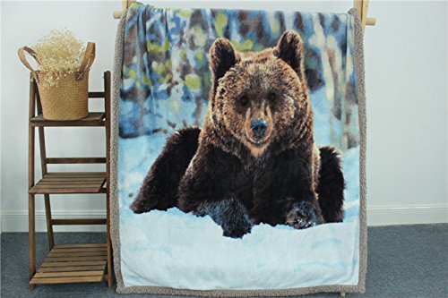 YOUSA Super Warm Flannel Fleece Sherpa Plush Double Side Blanket For Sofa/Bed/Travel Soft Throw Blanket (Bear) - Blanket Travel Bear