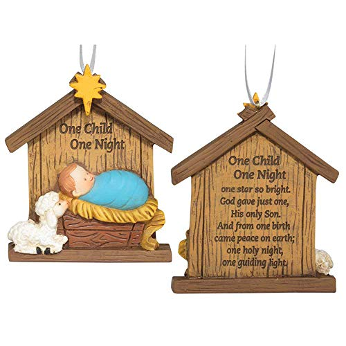 (Dicksons One Child One Night Natural Brown 4 x 3 Resin Stone Christmas)