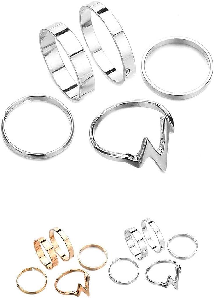 set estilo simple joyer/ía punk de Bohemia Mujeres Juntas Anillos Conjunto de plata del partido de oro anillo de regalo de la muchacha Beaums 5pcs