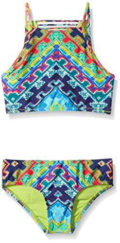 Nanette Lepore Big Girls Coral Reef High Neck Midkini with Surf Hipster, Multi, 7