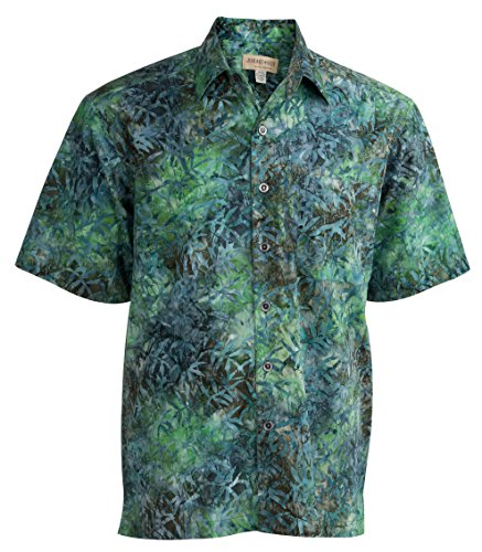 Johari West Moonlight Forest Tropical Hawaiian Batik Shirt by (L, Green)
