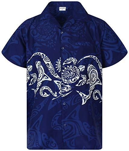 King Kameha Funky Hawaiian Shirt, Shortsleeve, Maori Chest, Blue, L