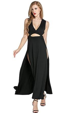 Qullyo Sexy Fashion Women V Neck Long Maxi Dress Evening Cocktail Club Party Prom Dress