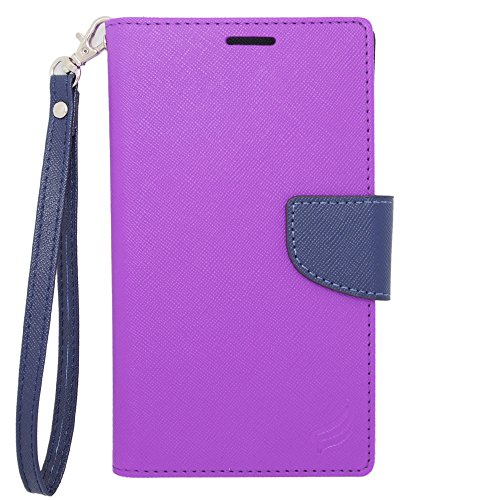 HJ POWER[TM] BLU Life Play 2 CT2 Leather PU WALLET POUCH Cover + [Free HJ POWER Stylus] CT2 Blue Purple