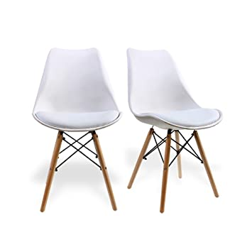 Etonnant Dining Chairs By Santang White Eames Style Side Chairs 18u0027Seated Height  Wood Legs Eames