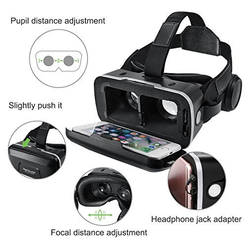 3D VR Glasses, HAMSWAN 3D VR Goggles VR Headset Virtual Reality Goggles Headset Glasses with Built-in Headset, Unique Design and Multifunction Button Compatible with Smartphones within 4.0-6.0 inch by HAMSWAN (Image #4)