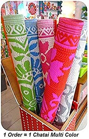 Familykart Plastic Floor Mat/Chatai, Large (Random Colour & Design)
