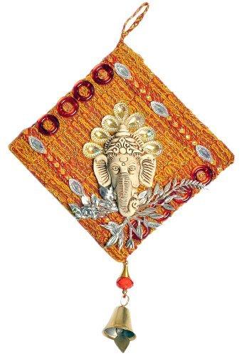 Little India Decorative Ethnic Wall Hanging Ganesha 12.7 Cm X 12.7 Cm Multicoloured