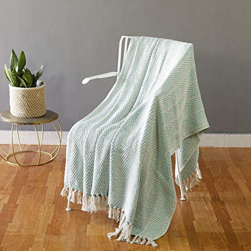 (HANDICRAFT-PALACE Cotton Brown Throws Geometric Woven Soft Patio Throw Blanket 50 x 60 inches (Turquoise Herringbone Stripe))