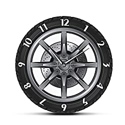 WANGJRU Car Service Repair Garage Owner Tire Wheel Car Auto Wall Clock Watch Vintage Cool Mechanic Gift Ideal for Car Workshop