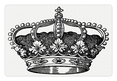 Ambesonne Queen Pet Mat for Food and Water, Antique Royal Crown Kingdom Emperor Ruler Czar Symbol Monarchy Authority Icon, Rectangle Non-Slip Rubber Mat for Dogs and Cats, Black and White
