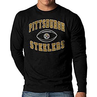 afb9b3d46db Image Unavailable. Image not available for. Color: Pittsburgh Steelers  Black Long Sleeve Vintage Scrum T-shirt Small