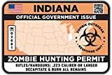 INDIANA Type II Zombie Hunting Permit Sticker Size: 4.95x2.95 Inch (12.5x7.5cm) Decal