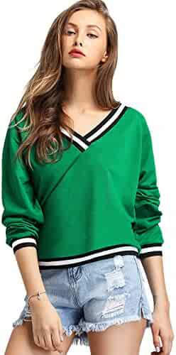 99e156767b93 SheIn Women's Casual V Neck Long Sleeve Contrast Striped Pullover Sweatshirt  Green Large