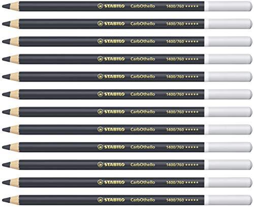 STABILO CarbOthello Pastel Chalk Pencils - Neutral Black (Box of 12)