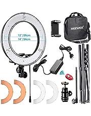 Neewer LED-spot, 48 cm, instelbaar, met kleurfilter, draaibare houder voor telefoon, adapter voor hete schijf en tas voor Selfie Retrato YouTube