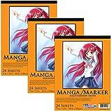 "U.S. Art Supply 9"" x 12"" Premium Manga-Marker Paper Pad, 60 Pound (100gsm), Pad of 24-Sheets - (3-Pack)"