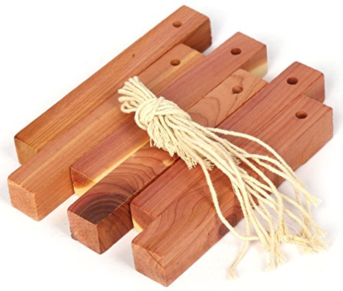 Hanging Blocks (Natural Moth Balls Cedar Chips Hanging Blocks - Closets Drawers Moth Repellent Pest Control Clothes Protection - Aromatic Cedarwood Storage Odor Freshener Moisture Repel - 10 Pack 4.7