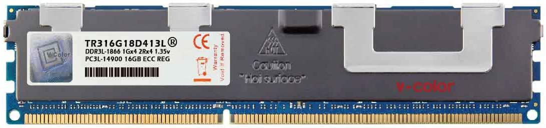 V-Color 16GB (1 x 16GB) Dual Rank Server Memory Ram Module Upgrade DDR3 1866MHz (PC3-14900) ECC Registered DIMM with Heat Sink 1.35V CL13 2Rx4 (TR316G18D413L)