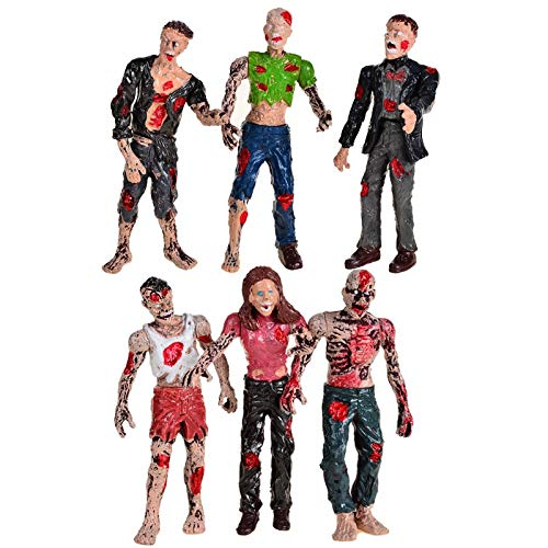 VIET FG Zombie Walking Dead Dolls Action Figures Toys Static Model Articulated Joints,Halloween Toys for Kids,6Pcs -Complete Series -