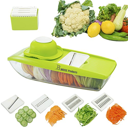 B. WEISS mandoline slicer Cuts Fruits & Vegetables, Straight & Julienne-Vegetable Slicer - Food Slicer - Vegetable Cutter with 5 Interchangeable Blades