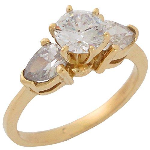 10k Yellow Gold White CZ High Setting Three Stone Ladies Fancy Anniversary Ring