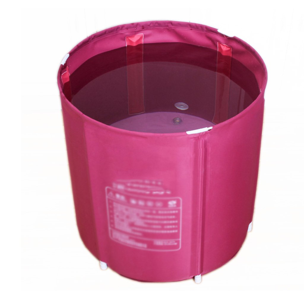 Bathtubs Freestanding Foldable Portable Insulation Adult Plastic spa Bath Jacuzzi Family Bathroom (not inflated) (Color : Pink, Size : 6565cm)