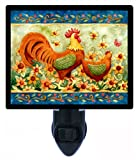 Country and Folk Style Night Light - Rooster with Sunflowers - LED NIGHT LIGHT