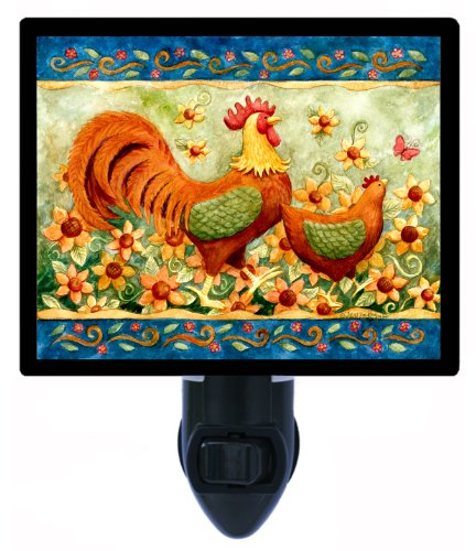 Country and Folk Style Night Light, Rooster with Sunflowers, LED Night Light