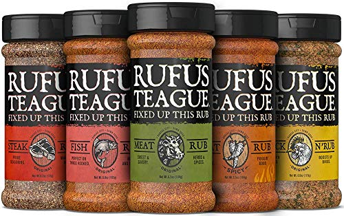 Rufus Teague - Assorted Premium Meat Rubs - ONE COMBO RUB PACK - 6.5oz Each. Five Amazing Flavors. This is the Ultimate BBQ RUB GIFT PACK that You'll Savor the Flavor