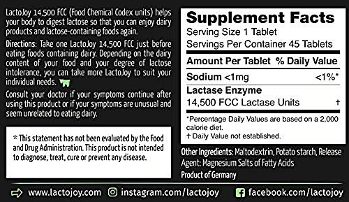 LactoJoy Lactase Pills I Powerful Lactase Enzymes for Lactose Intolerance I Ultra Pure Lactase for Improved Digestion I No Silicon Dioxide, Artificial Flavors or Sucralose I 100% Vegan I 45 Pieces by Lactojoy (Image #3)