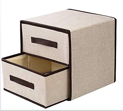 LHY SAVE 2 Niveles Organizador Cajones Plegable Caja De Almacenamiento para Sujetador, Ropa Interior Cajoneras para Armarios,Rosado,30x30x30cm,Beige: Amazon.es: Hogar
