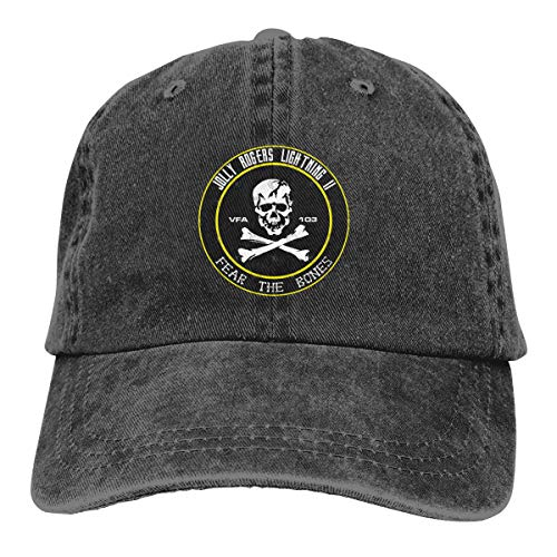 Adjustable Denim Hat Baseball Cap Jean Cotton Unisex Printed with VFA 103 Jolly Rogers ()