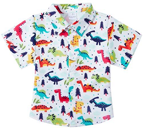 - RAISEVERN Big Boys' Cotton Dress Shirt Casual Cute Button Down Short Sleeve Cartoon Dinosaur Print Top Kids Cool T-Shirt(7-8T)