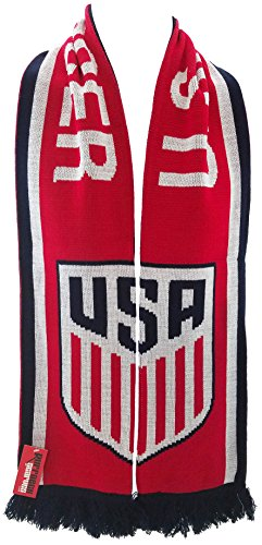 Official United States National Team Soccer Scarf- Split Crest Scarf, One Size, Red