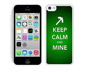 MMZ DIY PHONE CASEkeep calm and mine White Hard Plastic iphone 5c Phone Cover Case