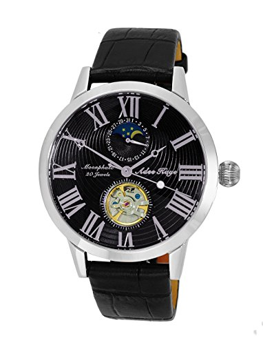 Adee Kaye Men's Stainless Steel and Leather Automatic Watch, Color:Black (Model: ()