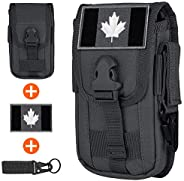 IronSeals Tactical Cell Phone Holster Pouch, EDC Gadget Waist Bag Molle Attachment Belt Holder with CAN Flag P