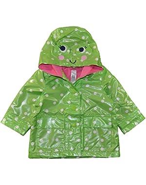 Baby Girls Green POlka Dot Frog Rain Slicker (12M)