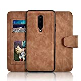 Newseego Compatible with Oneplus 7 Pro Case, Retro Premium Leather Zipper Purse Detachable Magnetic Flip Shockproof Case with Credit Card Slots Wallet Magnetic Closure for Oneplus 7 Pro - Brown