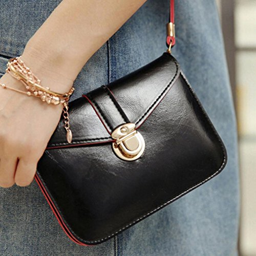 Leather Purse Bag Black Fashion Vibola Handbag Messenger Bag Zero Phone Shoulder Single T6qZTEIxw