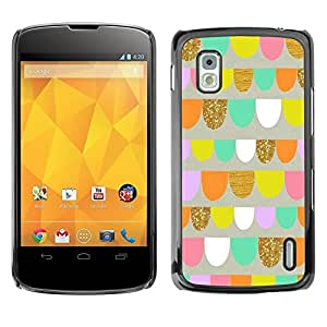Be Good Phone Accessory // Dura Cáscara cubierta Protectora Caso Carcasa Funda de Protección para LG Google Nexus 4 E960 // Paper Art Fun Playful Pink Shapes