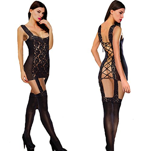 Black Sexy Fishnet Bodystocking Bodysuit Women Chemise Lingerie Baby Doll Dress Lingerie See-Through Dress Sexy - Baby Costume Dress Spice