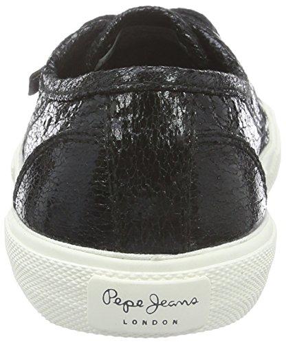 Pepe Jeans London Damen Aberlady Crackle Sneaker Schwarz (Black 999)