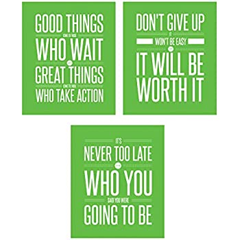 Don't Give Up 3 Poster Set Motivational Inspirational Quote Wall Workout Sports Art Boy Girl Teen Fitness Wall Home Decor Office Classroom Dorm Room Gym Entrepreneur (8 x 10 Lime Green)