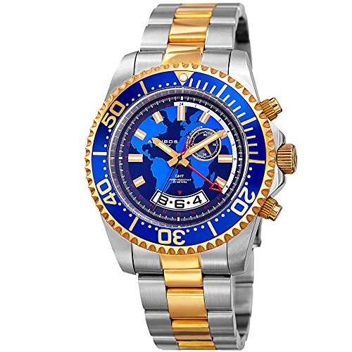 Great for Father's Day - Akribos XXIV Men's Diver Watch - Multifunction Retrograde Date and Seconds, GMT - Gold and Silver Stainless Steel Bracelet Wristwatch with Blue Bezel and Dial - Bezel Bracelet Diver