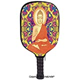 AmaUncle 3D Pickleball Paddle Racket Cover Case,Ornate Mandala Round Pattern with Flowers and Love Esoteric Illustration Customized Racket Cover with Multi-Colored,Sports Accessories