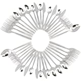 Stainless Steel Flatware Set (40 piece); Silverware for Service for 8 People Knives, Tablespoons, Teaspoons, Forks, & Dessert Forks, European Style