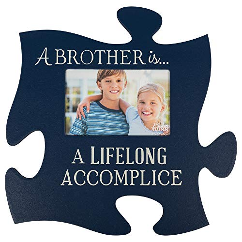 P. Graham Dunn A Brother is a Lifelong Accomplice Blue 12 x 12 Wall Hanging Wood Puzzle Piece Photo Frame (Dunn Brothers)