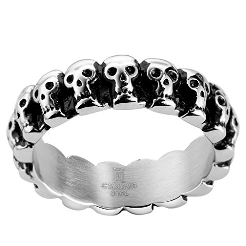 Jude Jewelers 6mm Stainless Steel Gothic Skull